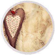 Vintage Handmade Plush Heart Pillow On The Soft Blanket Round Beach Towel
