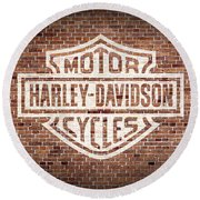 Vintage Harley Davidson Logo Painted On Old Brick Wall Round Beach Towel