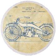 Vintage Harley-davidson Motorcycle 1924 Patent Artwork Round Beach Towel