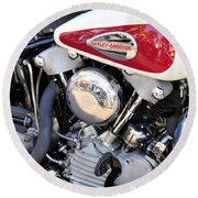 Vintage Harley V Twin Round Beach Towel by David Lee Thompson