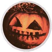 Vintage Horror Pumpkin Head Round Beach Towel