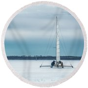 Vintage Ice Boat Round Beach Towel