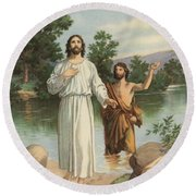 Vintage Illustration Of The Baptism Of Christ Round Beach Towel