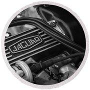 Vintage Jaguar Engine Round Beach Towel