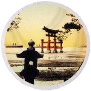 Vintage Japanese Art 23 Round Beach Towel