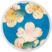 Vintage Japanese Illustration Of Dogwood Blossoms Round Beach Towel
