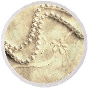 Vintage Lace And Pearls Round Beach Towel