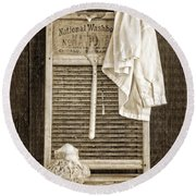 Vintage Laundry Room Round Beach Towel by Edward Fielding