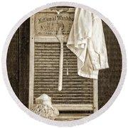Vintage Laundry Room Round Beach Towel