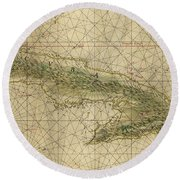 Vintage Map Of Cuba - 1639 Round Beach Towel