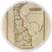 Antique Map Of Delaware Round Beach Towel