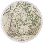Vintage Map Of Finland - 1740s Round Beach Towel
