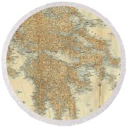 Vintage Map Of Greece - 1894 Round Beach Towel