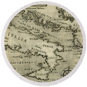 Vintage Map Of Italy And Greece - 1587 Round Beach Towel