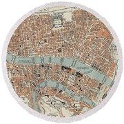 Vintage Map Of Lyon France - 1888 Round Beach Towel