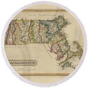 Antique Map Of Massachusetts Round Beach Towel