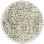 Vintage Map Of Memphis Tennessee - 1911 Round Beach Towel