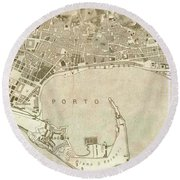 Vintage Map Of Messina Italy - 1900 Round Beach Towel