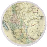 Vintage Map Of Mexico - 1847 Round Beach Towel