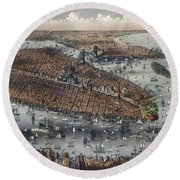 Vintage Map Of New York And Brooklyn Circa 1875 Round Beach Towel