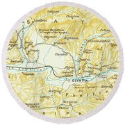 Vintage Map Of Olympia Greece - 1894 Round Beach Towel