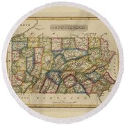 Antique Map Of Pennsylvania Round Beach Towel