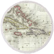Vintage Map Of The Caribbean - 1852 Round Beach Towel