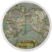 Vintage Map Of The Kingdom Of Naples - 1608 Round Beach Towel