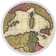 Vintage Map Of The Mediterranean - 1695 Round Beach Towel