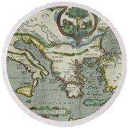 Vintage Map Of The Mediterranean Sea - 1608 Round Beach Towel
