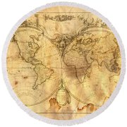 Vintage Map Of The World Round Beach Towel by Michal Boubin