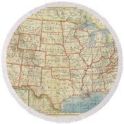 Vintage Map Of United States, 1883 Round Beach Towel