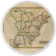 Antique Map Of United States Round Beach Towel