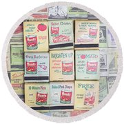 Vintage Matchbooks Round Beach Towel