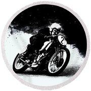 Vintage Motorcycle Racer Round Beach Towel