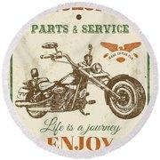 Vintage Motorcycling Mancave-c Round Beach Towel