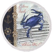 Vintage Nautical Crab Round Beach Towel