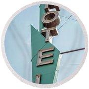 Vintage Neon Sign Hotel Livingston Montana Round Beach Towel