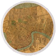 Vintage New Orleans Louisiana Street Map 1919 Retro Cartography Print On Worn Canvas Round Beach Towel