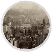 Vintage New York City Panorama Round Beach Towel