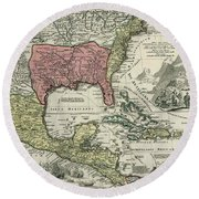 Vintage North America And Caribbean Map - 1720 Round Beach Towel