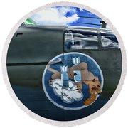 Vintage Nose Art B-25j Mitchell Round Beach Towel