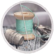 Vintage Notions Over Wood Background Round Beach Towel
