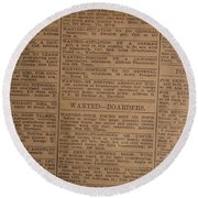Vintage Old Classified Newspaper Ads Round Beach Towel