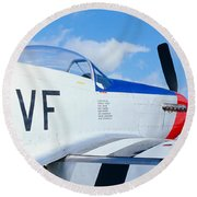 Vintage P51 Fighter Aircraft, Burnet Round Beach Towel