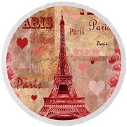 Vintage Paris And Roses Round Beach Towel