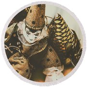 Vintage Party Puppet Round Beach Towel