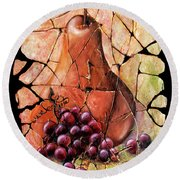 Vintage  Pear And Grapes Fresco   Round Beach Towel