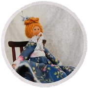 Vintage Peg Doll  Round Beach Towel