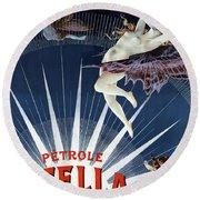 Vintage Petrole Stella Poster Round Beach Towel